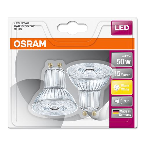 led spot par16 50 36 gu10 2 p osram hos mathem. Black Bedroom Furniture Sets. Home Design Ideas
