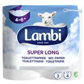 Toalettpapper Super Long 3-skikt 4-p 587g Lambi