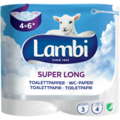Toapapper Super Long 3-skikt 4-pack 587g Lambi