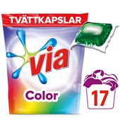 Tvättmedel Kapslar Color 17-p Via