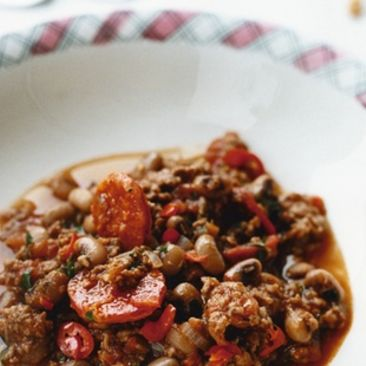 Chili med black eye bönor med chorizo