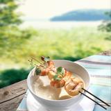 Jordärtskockssoppa med grillade skaldjur