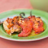 Kyckling med feta- och getostfylld paprika