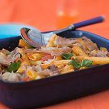 Grönsaksrigatoni med prosciutto och hyvlad permesan