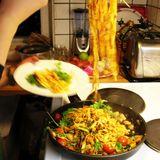 Pasta med röd pesto, bönor och grönsaker