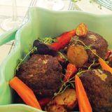 Timjanburgare med rostade grönsaker & dijonsås