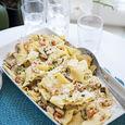 Mat-Tinas papardelle med skaldjur och gremolata